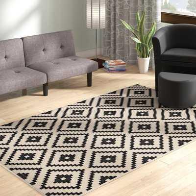 Eisen Geometric Trellis Black/Beige Indoor/Outdoor Area Rug - Wayfair