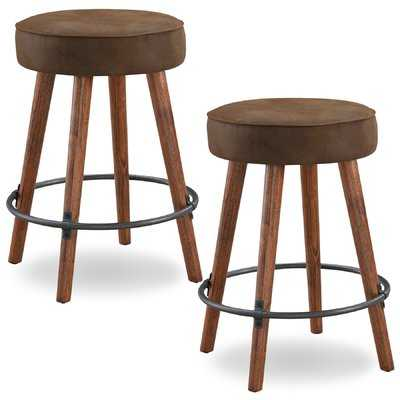 "Elk Falls Rustic Faux Leather 26"" Swivel Bar Stool - Wayfair"