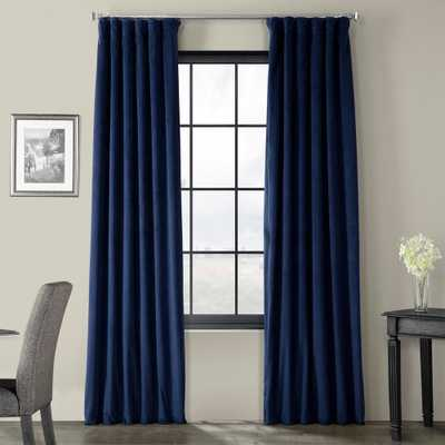 Exclusive Fabrics & Furnishings Signature Union Blue Blackout Velvet Curtain - 50 in. W x 84 in. L - Home Depot