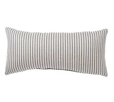 "Sunbrella(R) Claremont Stripe Indoor/Outdoor Pillow, 12 x 24"", Navy - Pottery Barn"