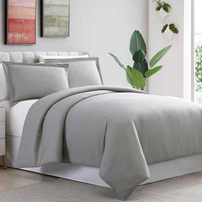 3-Piece Ultra-Plush Solid Gray King/Cal. King Duvet Set, Grey - Home Depot