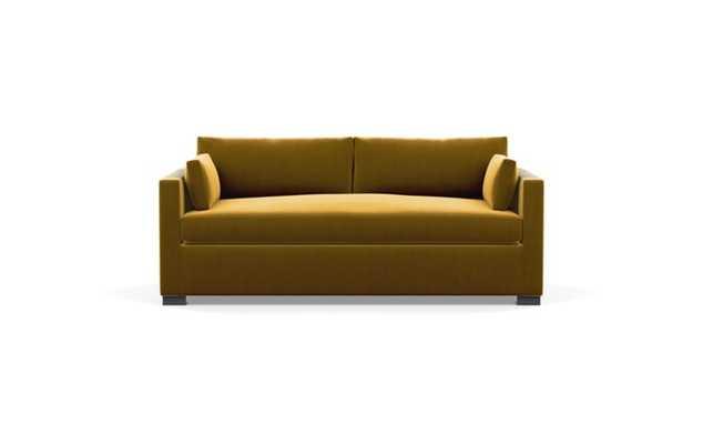 Charly Sleeper Sleeper Sofa with Yellow Citrine Fabric and Matte Black legs - Interior Define