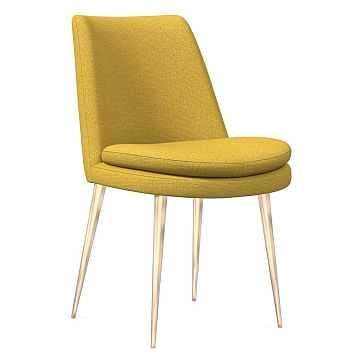 Finley Dining Chair, Low Back, Light Bronze Leg, Basket Slub, Dark Horseradish, Light Bronze - West Elm