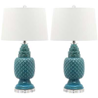 Safavieh Blakely 28 in. Blue Table Lamp (Set of 2) - Home Depot