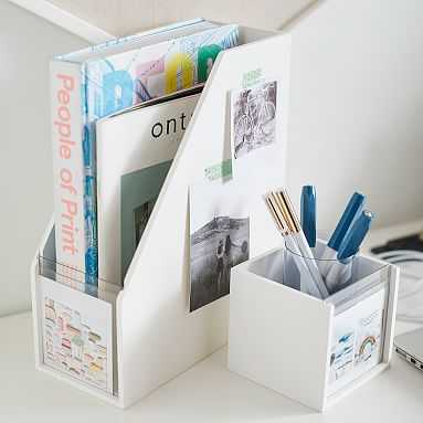 Display It Magazine Caddy, Simply White/Acrylic - Pottery Barn Teen