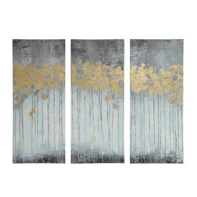 'Evening Forest' 3 Piece Painting Print Set on Wrapped Canvas - Wayfair