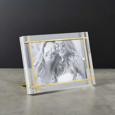 "Stella Brass Inlay Acrylic Photo Frame 4""x6"" - CB2"