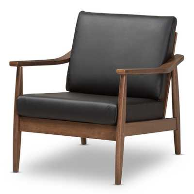 Venza Mid Century Modern Walnut Wood Faux Leather Lounge Chair Black - Baxton Studio - Target