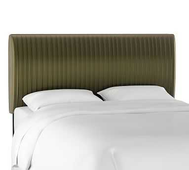 Kendall Channel Tufted Headboard, Queen, Olive - Pottery Barn