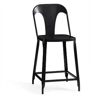 Maxx Counter Height Bar Stool, Carbon - Pottery Barn