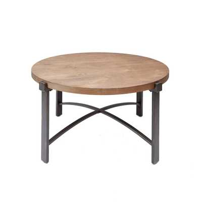 Lewis Gray and Brown Round Wood Top Coffee Table - Home Depot