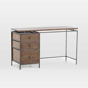 Modern Industrial Metal + Wood Writing Desk - West Elm