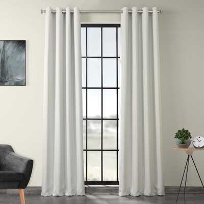 Exclusive Fabrics & Furnishings Oyster White Faux Linen Grommet Blackout Curtain - 50 in. W x 108 in. L - Home Depot