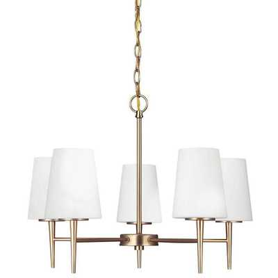 Sea Gull Lighting Driscoll 25.25 in. W 5-Light Satin Bronze Single Tier Chandelier with Inside Etched White Glass Shades - Home Depot
