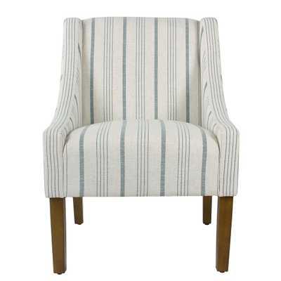 Homepop Striped Blue Calypso Poly-Linen Modern Swoop Accent Chair - Home Depot