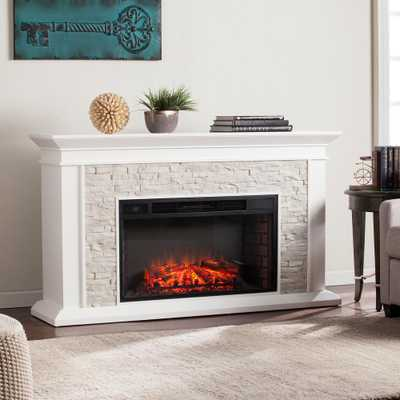 Sei Ithaca 60.25 in. W Faux Stacked Stone Electric Fireplace in White - Home Depot