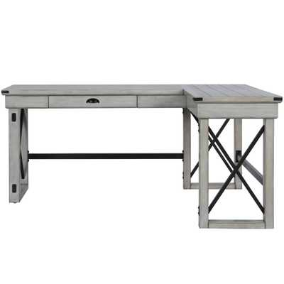 Wildwood Rustic White L-Shaped Desk with Lift Top - Home Depot