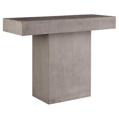 Cole Modern Rectangular Grey Concrete Outdoor Console Table - Kathy Kuo Home