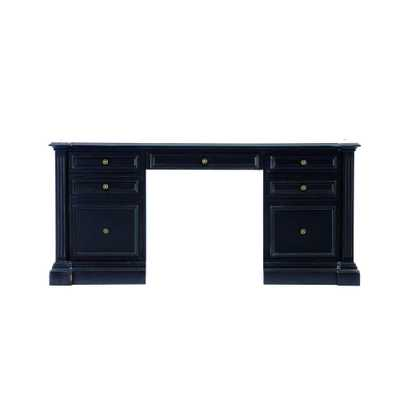 Bufford Rubbed Black Desk with Storage - Home Depot