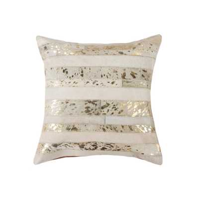 Torino Madrid Cowhide 18 in. x 18 in. Natural/Gold Pillow - Home Depot