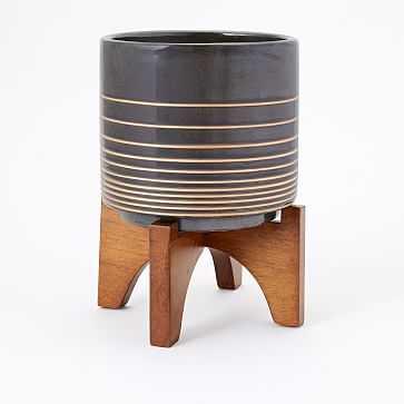 Turned Wood Tabletop Planter, Black/Gold, Large - West Elm
