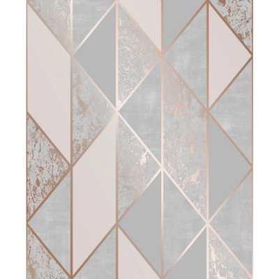 Super Fresco Milan Geo Rose Gold and Grey Removable Wallpaper, Grey/Rose Gold - Home Depot