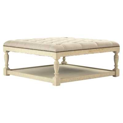 Square French Country White Tufted Square Wood Coffee Table Ottoman - Kathy Kuo Home