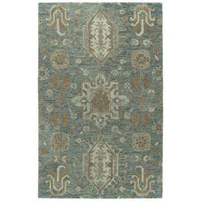 Toshiro Hand-Tufted Wool Green/Brown Area Rug - Wayfair