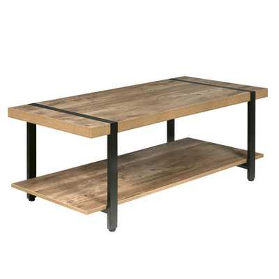 Bourbon Foundry Coffee Table, Wood and Inset Black Steel, Brown - Home Depot