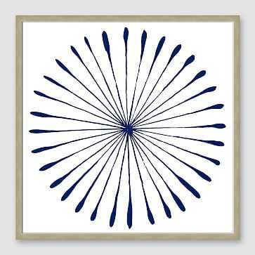"Framed Print, WaterColor Burst I Navy, Natural Frame, 20"" X 20"" - West Elm"