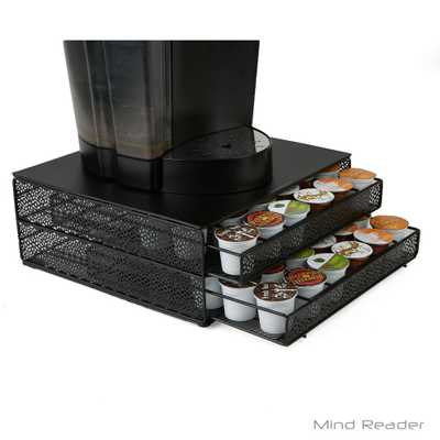 72-Capacity Black Double K-Cup Storage Tray with Flower Pattern Metal Mesh - Home Depot
