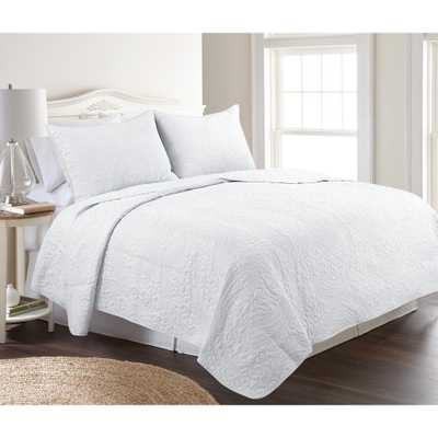 Conner Paisley White King Quilt Set - Home Depot