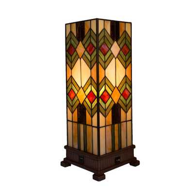River of Goods 17.25 in. Multi-Colored Mission Style Table Lamp with Built-In USB Port - Home Depot