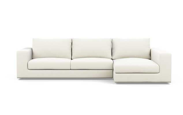Walters Right Sectional with White Ivory Fabric and extended chaise - Interior Define