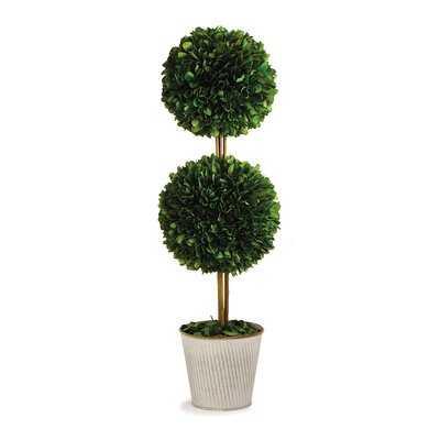 Boxwood Double Ball Topiary In Galvanized Pot 20 - Wayfair
