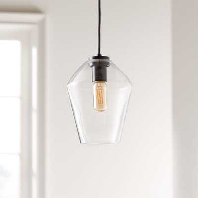 Arren Black Single Pendant with Clear Angled Shade - Crate and Barrel