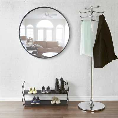 37 in. Black Hub Wall Mirror - Home Depot