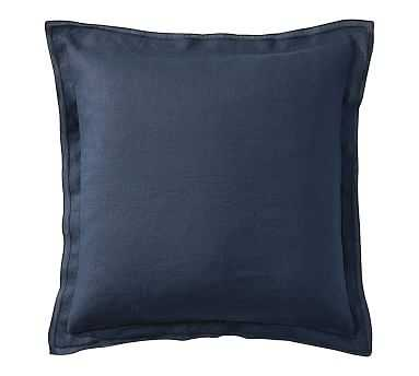 "Belgian Flax Linen Flange Pillow Cover, 18"", Sailor Blue - Pottery Barn"