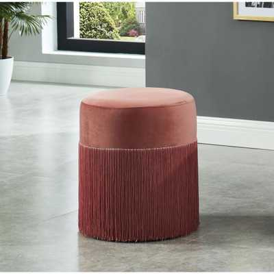Furniture of America Cabbiness Pink Round Ottoman - Home Depot