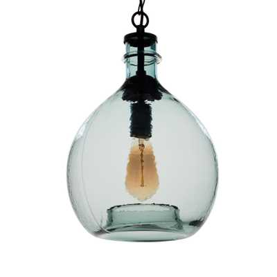 Casamotion 17 in. H and 11 in. W 1-Light Black Wavy Hammered Hand Blown Glass Pendant with Blue Glass Shade - Home Depot