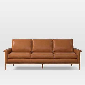 Leon 3 Seater Sofa, Leather, Saddle, Pecan - West Elm