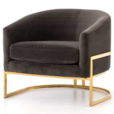 Crowley Hollywood Regency Brown Velvet Gold Arm Chair - Kathy Kuo Home