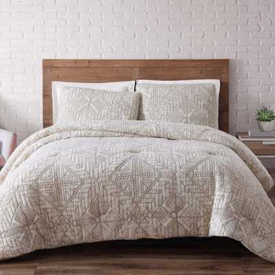 Sand Washed Cotton 3-Piece White Full and Queen Duvet Set - Home Depot