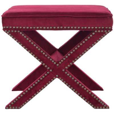 Palmer Red Accent Ottoman, Red Velvet - Home Depot