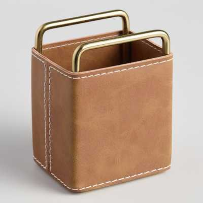Brown Faux Leather Grayson Pencil Cup by World Market - World Market/Cost Plus