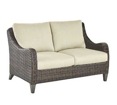 Abrego All-Weather Wicker Loveseat, Sunbrella(R) Navy - Pottery Barn