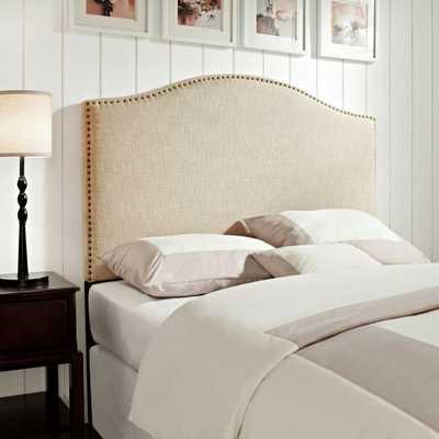 Tan King/California King Headboard, Nailhead Trim Linen Upholstered Panel - Home Depot