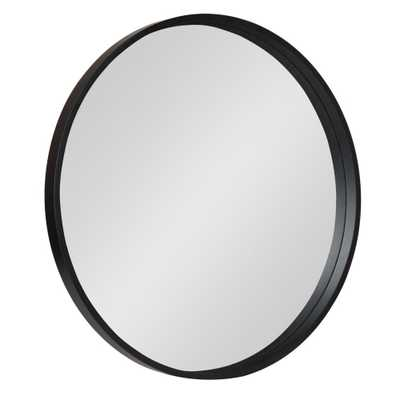 Travis Round Black Wall Mirror - Home Depot