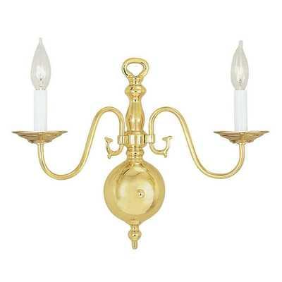 Livex Lighting Providence 2-Light Polished Brass Sconce - Home Depot