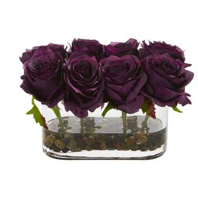 5.5 in. High Purple Roses Blooming Roses in Glass Vase Artificial Arrangement - Home Depot